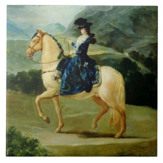 Portrait of Maria Teresa de Vallabriga on horsebac Tile