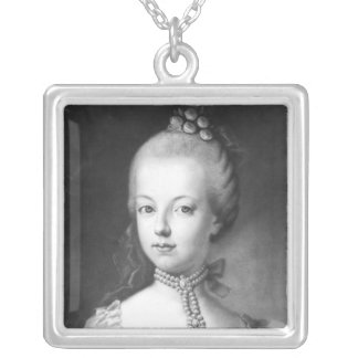 Portrait of Marie-Antoinette  of Habsbourg Silver Plated Necklace