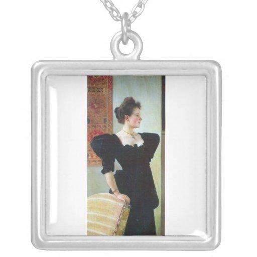 Portrait of Marie Breunig by Gustav Klimt Personalized Necklace