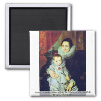 Portrait Of Marie Clarisse Wife Of Jan Woverius 2 Inch Square Magnet