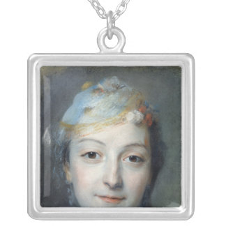 Portrait of Marie Fel  1757 Silver Plated Necklace
