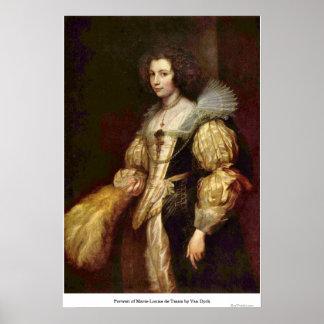 Portrait of Marie-Louise de Tassis by Van Dyck Poster