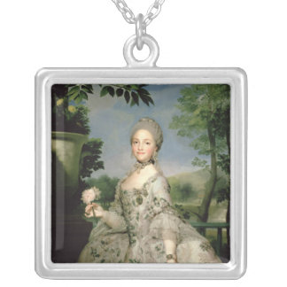 Portrait of Marie-Louise of Bourbon Silver Plated Necklace