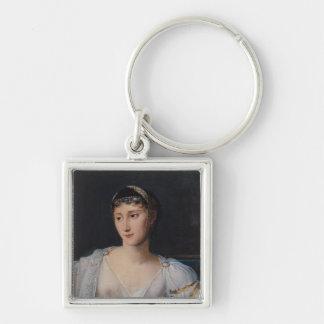Portrait of Marie-Pauline Bonaparte Silver-Colored Square Keychain
