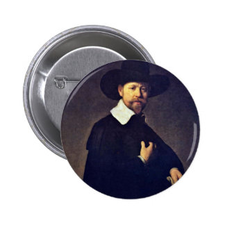 Portrait Of Marten Looten. By Rembrandt Van Rijn Button