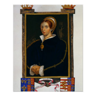 Portrait of Mary Tudor, from 'Memoirs of the Court Poster