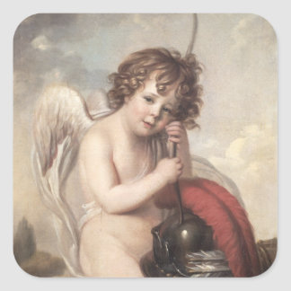 Portrait of Master Oswald Fawcett as Cupid (oil on Square Sticker