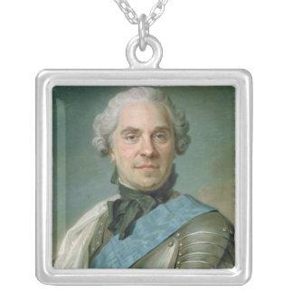 Portrait of Maurice  Comte de Saxe Silver Plated Necklace