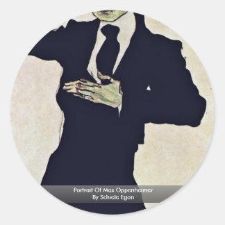 Portrait Of Max Oppenheimer By Schiele Egon Classic Round Sticker