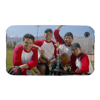 Portrait of Men in a Winning Baseball Team with iPhone 3 Case
