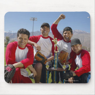 Portrait of Men in a Winning Baseball Team with Mouse Pad