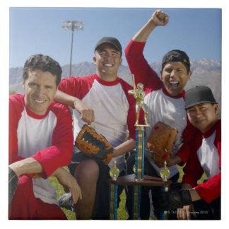Portrait of Men in a Winning Baseball Team with Tile