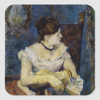 Portrait of Mette Gaugin, The Artists Wife Square Sticker