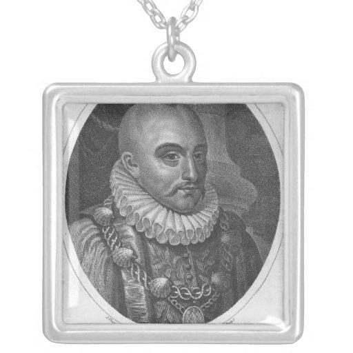 Portrait of Michel de Montaigne Square Pendant Necklace
