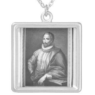 Portrait of Miguel de Cervantes Saavedra Silver Plated Necklace
