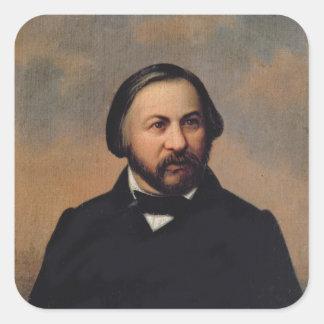 Portrait of Mikhail Ivanovich Glinka , 1850s Square Sticker