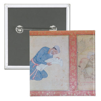Portrait of Min Musavir giving a petition Pinback Button