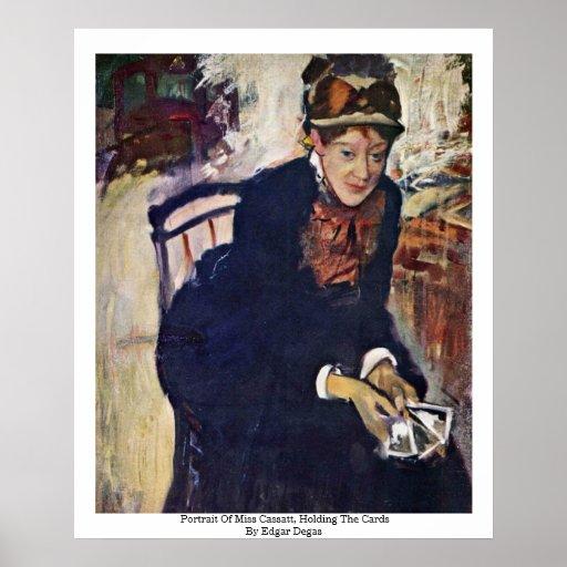 Portrait Of Miss Cassatt, Holding The Cards Poster