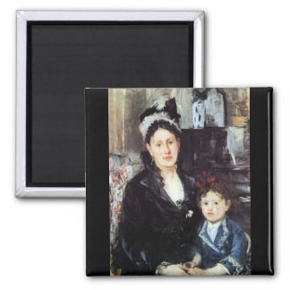 Portrait of Mme Boursier and Daughter by Morisot Magnets