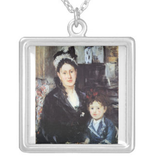 Portrait of Mme Boursier and Daughter by Morisot Square Pendant Necklace