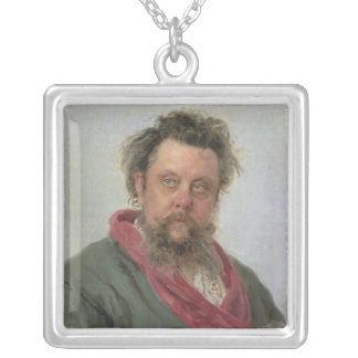 Portrait of Modest Petrovich Moussorgsky  1881 Square Pendant Necklace