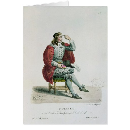 Portrait of Moliere  in the role of Arnolfe Greeting Cards