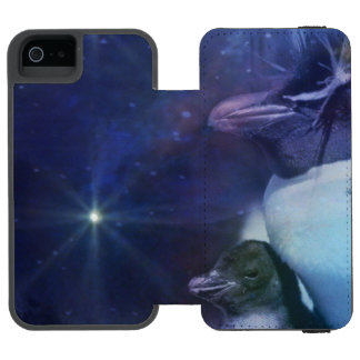 Portrait of Mom and Baby Chick Penguin iPhone SE/5/5s Wallet Case