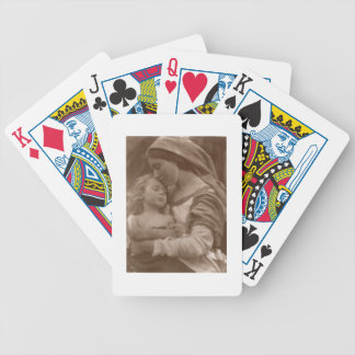 Portrait of mother and child (sepia photo) bicycle playing cards