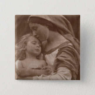 Portrait of mother and child (sepia photo) button
