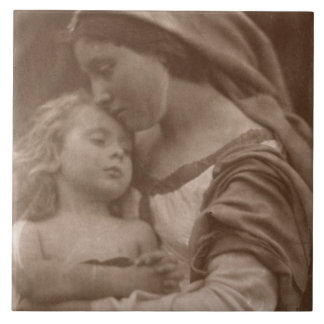 Portrait of mother and child (sepia photo) ceramic tile