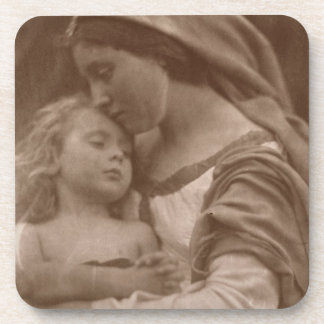 Portrait of mother and child (sepia photo) coaster