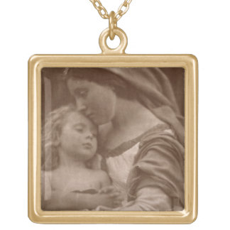 Portrait of mother and child (sepia photo) gold plated necklace