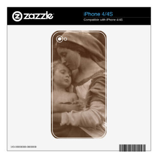 Portrait of mother and child (sepia photo) iPhone 4S skins