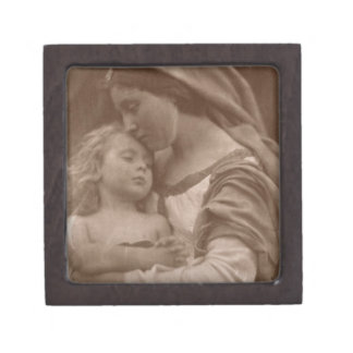 Portrait of mother and child (sepia photo) jewelry box