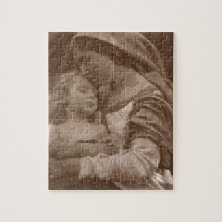 Portrait of mother and child (sepia photo) jigsaw puzzle
