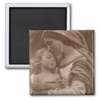 Portrait of mother and child (sepia photo) magnet