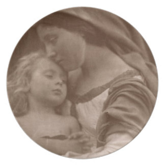 Portrait of mother and child (sepia photo) melamine plate