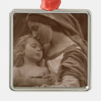 Portrait of mother and child (sepia photo) metal ornament