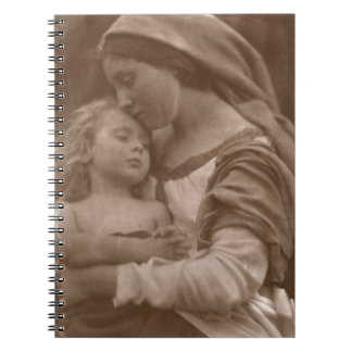 Portrait of mother and child (sepia photo) notebook