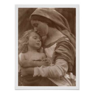 Portrait of mother and child (sepia photo) poster