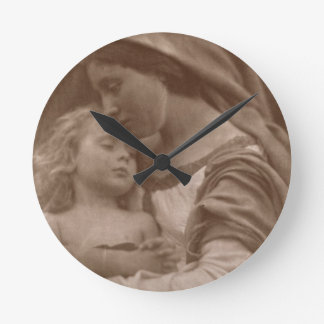 Portrait of mother and child (sepia photo) round clock