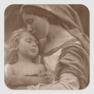 Portrait of mother and child (sepia photo) square sticker