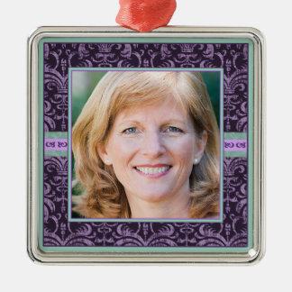 Portrait of Mother in Elegant Purple Damask Photo Metal Ornament