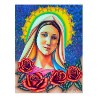 Portrait of Mother Mary with Red Roses Postcard
