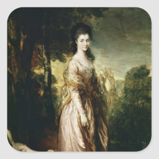 Portrait of Mrs. Lowndes-Stone  c.1775 Square Sticker