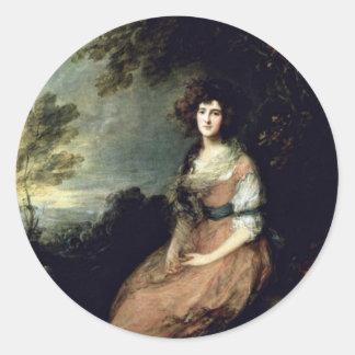 Portrait Of Mrs. Richard B. Sheridan By Thomas Gai Classic Round Sticker