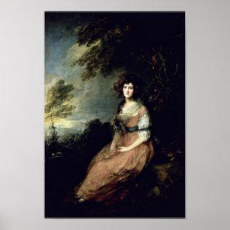 Portrait Of Mrs Richard B Sheridan By Thomas Gai Poster