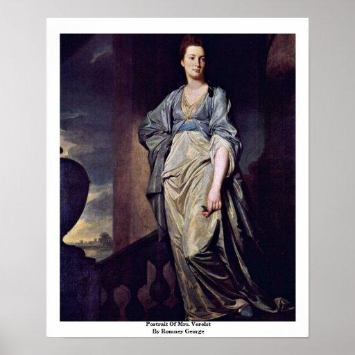 Portrait Of Mrs. Verelst By Romney George Poster