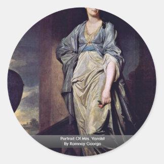 Portrait Of Mrs. Verelst By Romney George Round Sticker