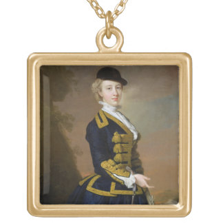 Portrait of Nancy Fortesque wearing a dark blue ri Necklaces